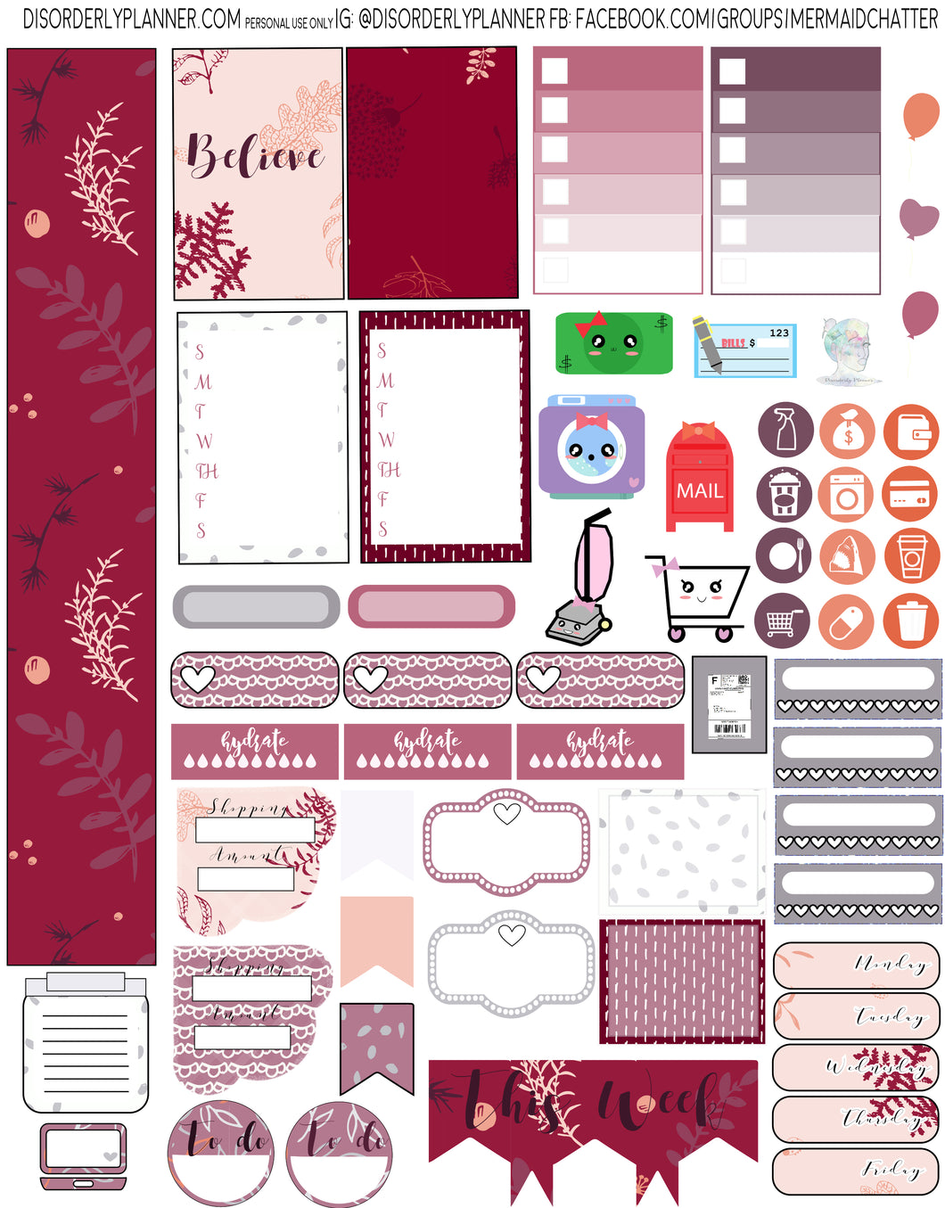 Ruby Printable Planner Stickers