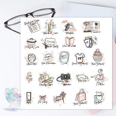 Goal Bucket list - Decorative Stickers - Planner Stickers - Self Care