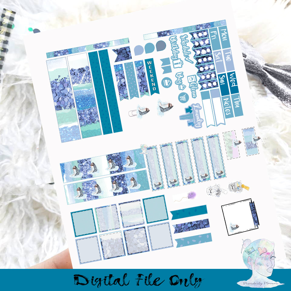 Shark Week Hobonichi Printable Planner Stickers