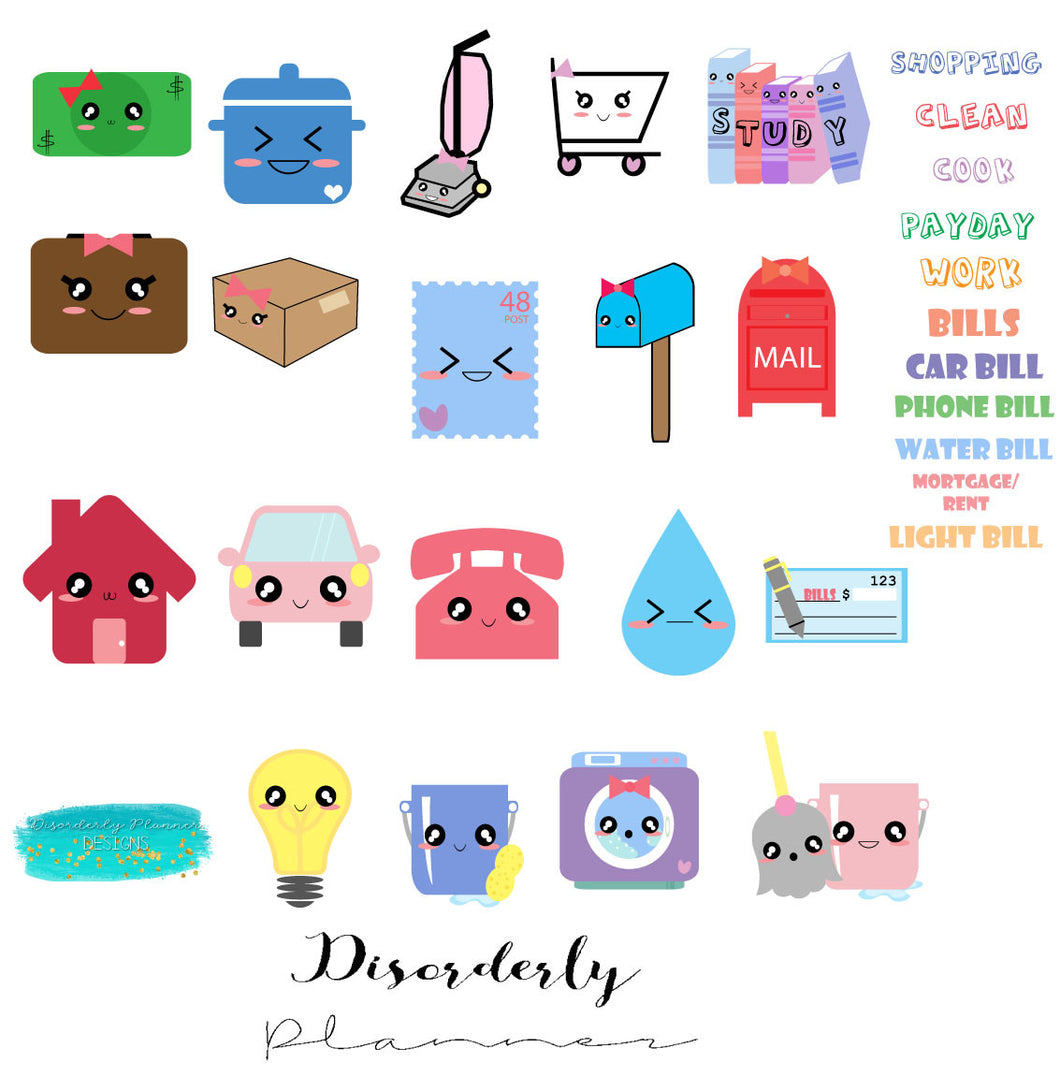 Kawaii - functional stickers - Disorderly Planner Stickers - planner sticker sheets