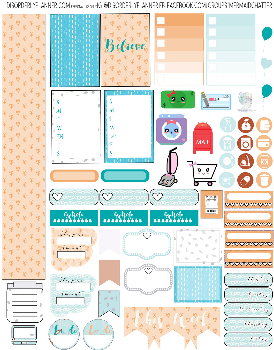 Tangerine and Blue Printable Planner Stickers