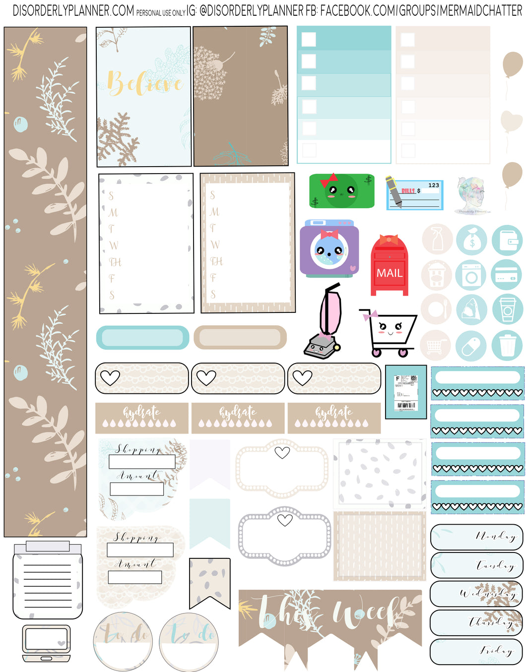 Taupe Printable Planner Stickers