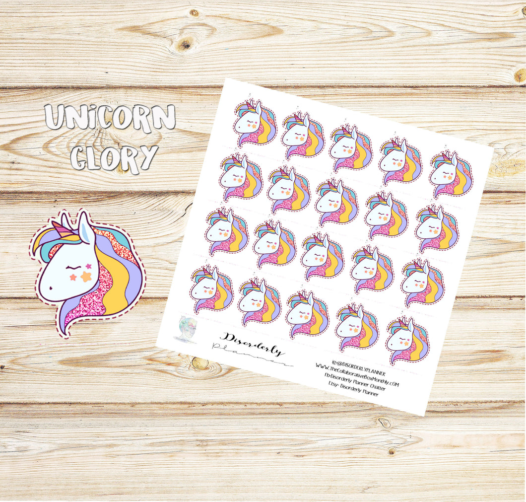 Unicorn Glory -  Planner Stickers, Erin Condren , Happy Planner, Filofax, Decorative