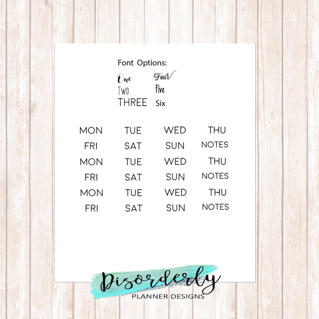 Weekday Script Functional Stickers - Headers