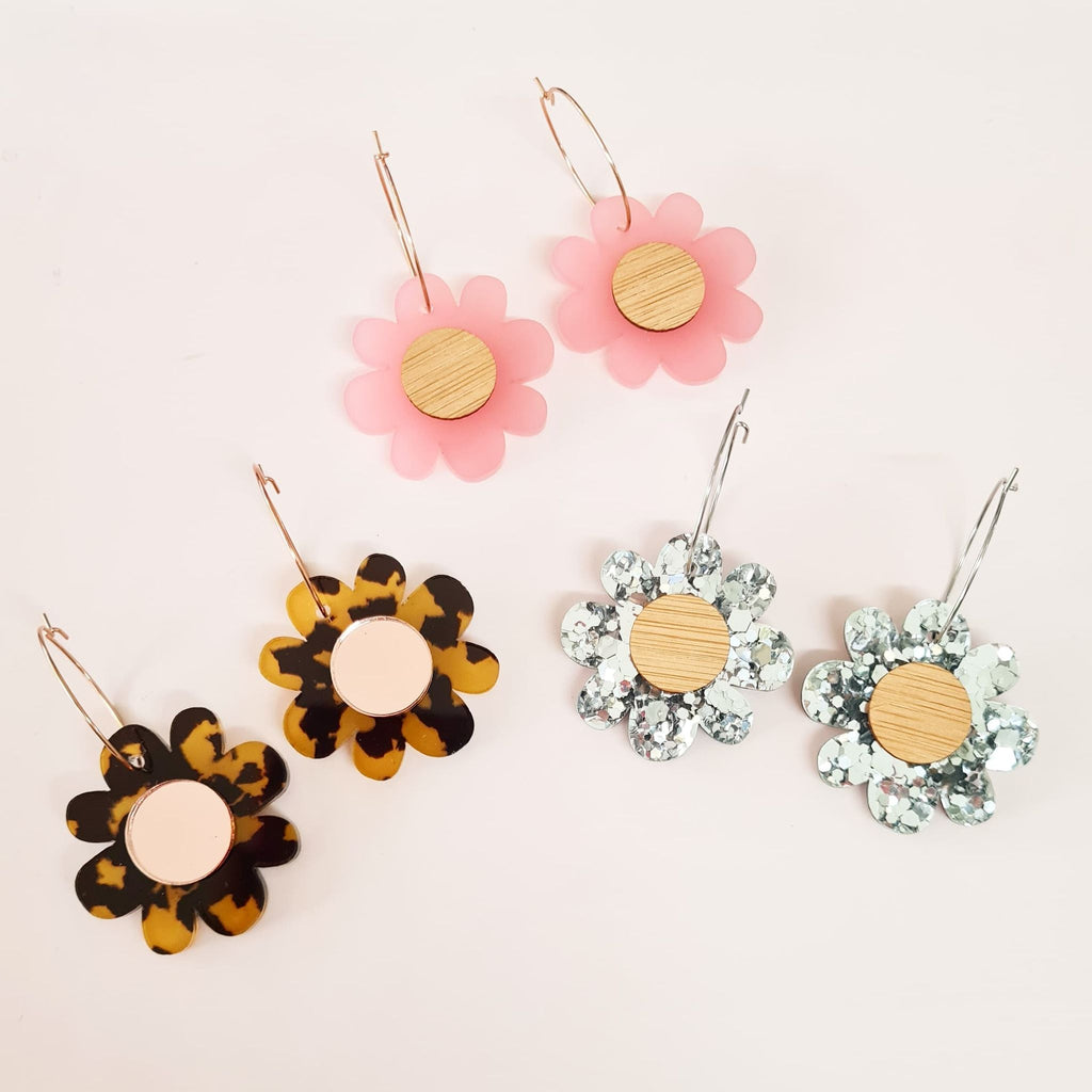 Flower Hoop Dangles