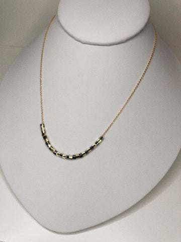 GUNMETAL/GOLD BEADED NECKLACE