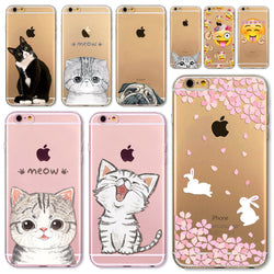 Soft Silicon Transparent Phone Case With Cute Kitties, Bunnies and Puppies