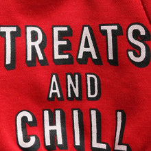 Treats and Chill Cat Shirt in Black and Red with Netflix Font
