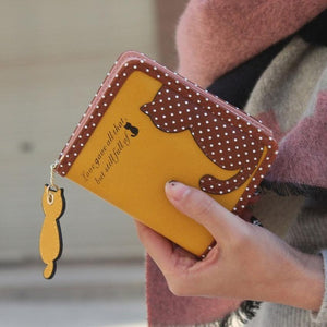 Kitty Cutout Wallet with Polka Dots and Cat Shaped Zipper Pull