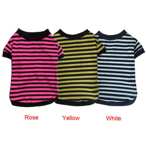 Striped Cat Shirt in Yellow, White, or Pink