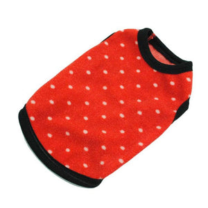Red and White Polka Dot Cat Shirt with Black Piping