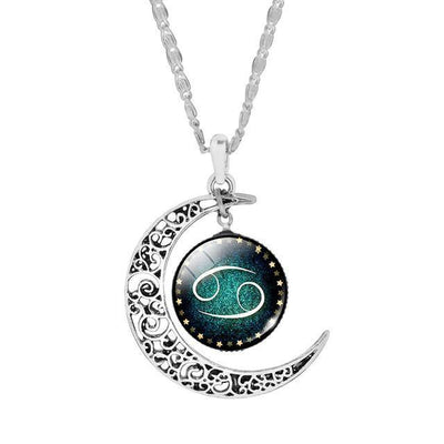 Zodiac Cabochon Glass Pendant Necklaces For Women