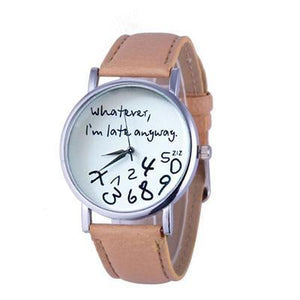 Wathever, I'm Late Anyway Letter Print Watch Beige - DiyosWorld