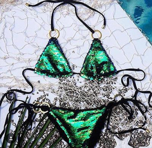 Load image into Gallery viewer, Sequin Push-up Padded Bikini Set