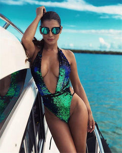 Body Suits Shiny Color-Changing Monokini Swimsuit - DiyosWorld