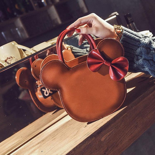 Luxury Bowknot Leather Hand Bag Brown - DiyosWorld