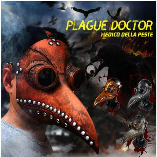 Boys Costume Accessories Gothic Doctor Plague Mask Brown Mask with Silver - DiyosWorld
