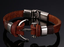 Load image into Gallery viewer, Brown Leather  Anchor Bracelet