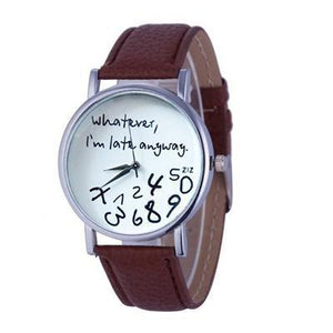 Wathever, I'm Late Anyway Letter Print Watch Brown - DiyosWorld