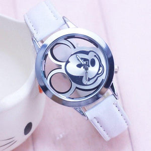 cartoon Cute Transparent Hollow Dial Leather Watch White - DiyosWorld