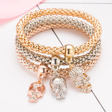 Load image into Gallery viewer, 3 PCS Bangle Skull Bracelet