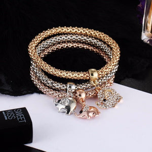 Charm Bracelets 3 Pcs Set Crystal Owl/Crown/Elephant Charm Bracelet - DiyosWorld