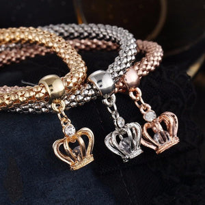 Charm Bracelets 3 Pcs Set Crystal Owl/Crown/Elephant Charm Bracelet CROWN - DiyosWorld