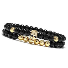 Load image into Gallery viewer, Skull Bracelets Set Elastic Black Beads Chain