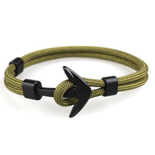 Load image into Gallery viewer, Black Anchor Survival Rope Chain Bracelet