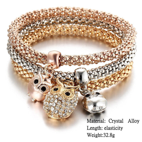 Charm Bracelets - 3 Pcs Set For Price Of One Crystal Owl/Crown/Baby Elephant Charm Bracelets