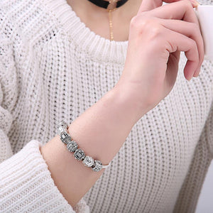 Charm Bracelets - BELAWANG Fashion Women Bracelet Silver Color Crystal Bead Charm Bracelet For Women Christmas Jewelry Original Bracelets Gift