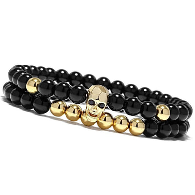 Skull Bracelets Set Elastic Black Beads Chain