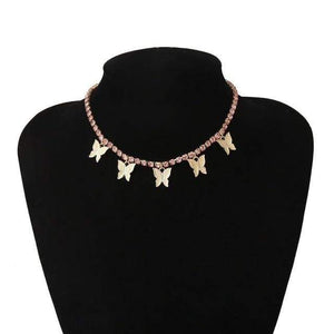 Choker Necklaces Luxury Crystal Butterfly Choker Necklace Gold Pink - DiyosWorld