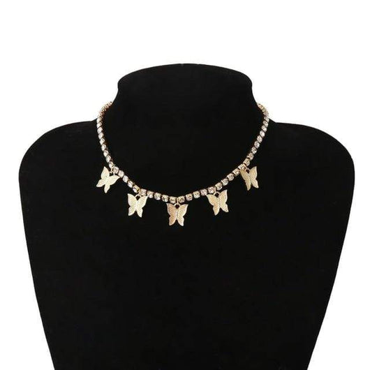 Choker Necklaces Luxury Crystal Butterfly Choker Necklace Gold Gold - DiyosWorld
