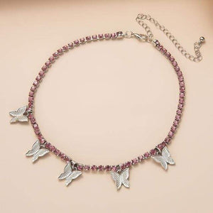 Choker Necklaces Luxury Crystal Butterfly Choker Necklace Silver Pink - DiyosWorld