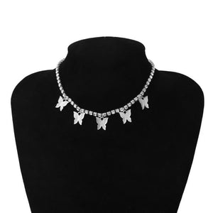 Choker Necklaces Luxury Crystal Butterfly Choker Necklace Silver White - DiyosWorld