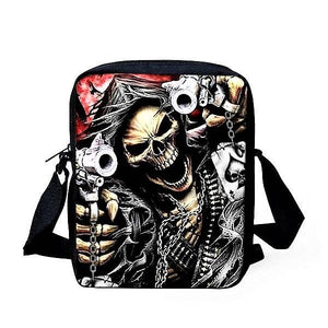 Crossbody Bags Punk Skull Head Cross body Travel Shoulder bag Black and Red - DiyosWorld