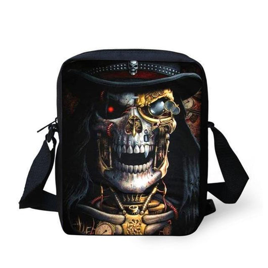Crossbody Bags Punk Skull Head Cross body Travel Shoulder bag Gold - DiyosWorld
