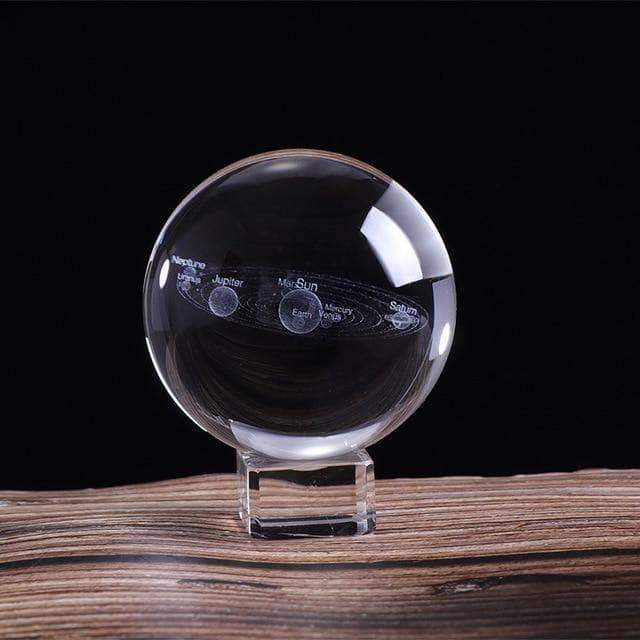 Laser Engraved 3D Solar System Crystal Ball