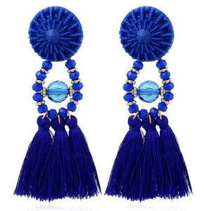 Drop Earrings Drop Dangle Fringe Earring Blue - DiyosWorld