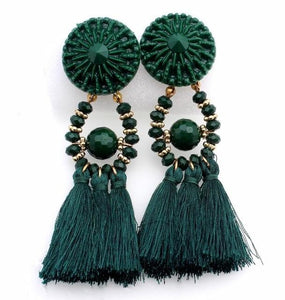 Drop Earrings Drop Dangle Fringe Earring Green - DiyosWorld