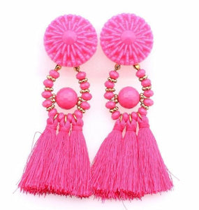 Drop Earrings Drop Dangle Fringe Earring Pink - DiyosWorld
