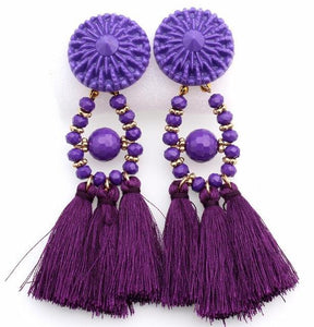 Drop Earrings Drop Dangle Fringe Earring Purple - DiyosWorld