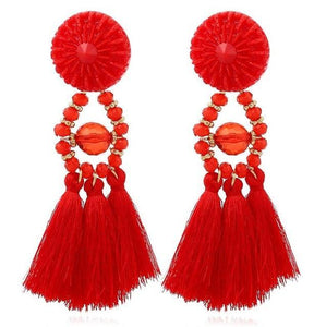 Drop Earrings Drop Dangle Fringe Earring Red - DiyosWorld