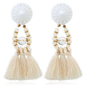 Drop Earrings Drop Dangle Fringe Earring White - DiyosWorld