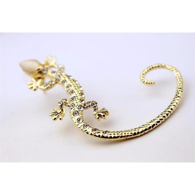 Earring - Rhinestone Ear Cuff  Gekkonidae Lizard  Stud Earring - For One Ear