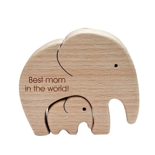 Figurines & Miniatures Handmade Elephant Mother & Child Wooden Home Decor Best Mom in the World - DiyosWorld