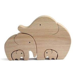 Figurines & Miniatures Handmade Elephant Mother & Child Wooden Home Decor Elephant Family - DiyosWorld