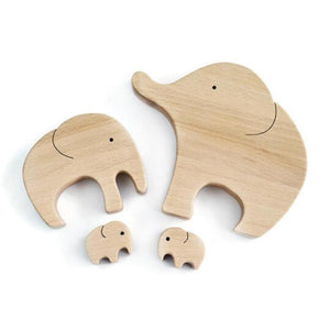 Figurines & Miniatures Handmade Elephant Mother & Child Wooden Home Decor - DiyosWorld