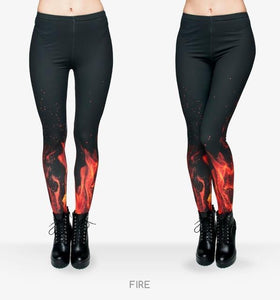 Fire Flame/Piano/Queen Of Hearts Printed Leggings Fire - DiyosWorld